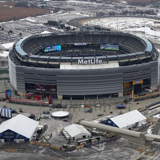 NEW YORK, NY - JANUARY 31: MetLife Stadium is seen from the window of a Customs and Border Protection (CBP), Blackhawk helicopter ahead of Super Bowl XLVIII on January 31, 2014 in East Rutherford, New Jersey. Helicopters flown by