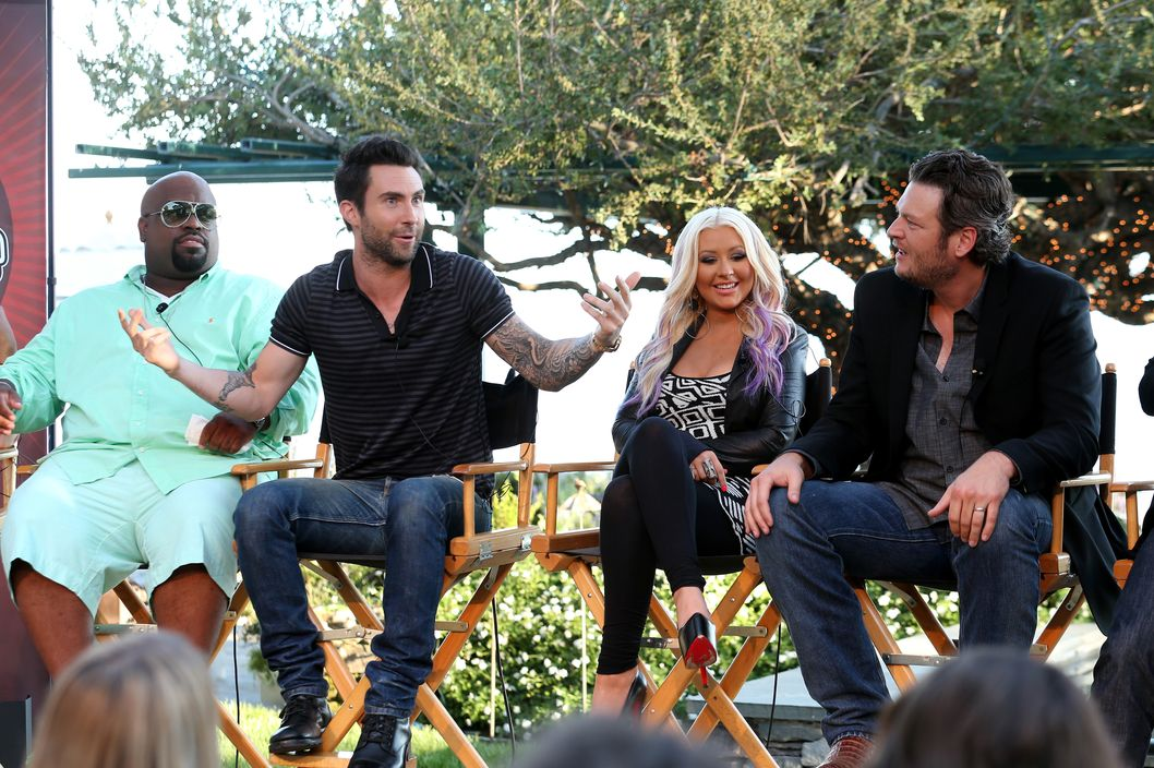 "The Voice's  Cee Lo Green, Adam Levine, Christina Aguilera, and Blake Shelton speak onstage during the NBCUniversal's ""The Voice"" Press Junket and cocktail reception on August 12, 2012 in Los Angeles, California."