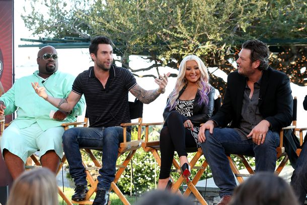 "LOS ANGELES, CA - AUGUST 12:  (L-R)  The Voice's  Cee Lo Green, Adam Levine, Christina Aguilera, and Blake Shelton speak onstage during the NBCUniversal's ""The Voice"" Press Junket and cocktail reception on August 12, 2012 in Los Angeles, California.  (Photo by Christopher Polk/Getty Images for NBCUniversal)"