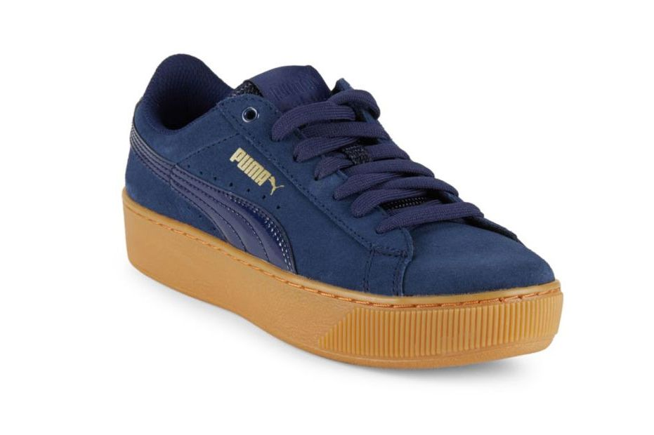 Puma Vikky Leather-Blend Lace-Up Sneakers, Navy