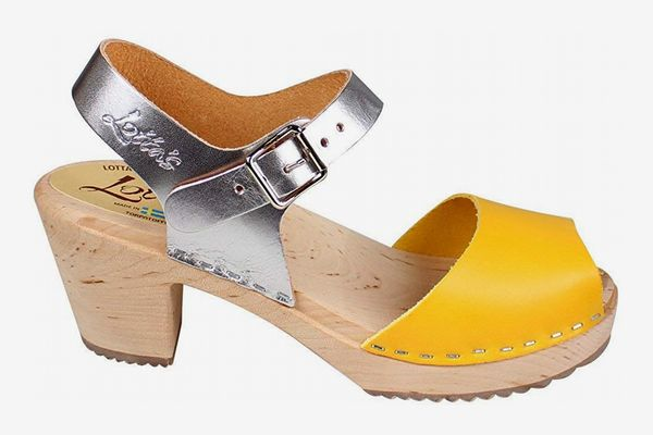 Lotta From Stockholm Swedish Clogs Highwood Open in Yellow and Silver