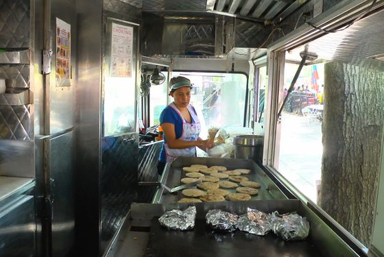 Red Hook–based Salvadoran pupusa vendor, El Olomega, last year's Vendy Cup winner.
