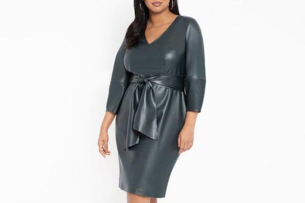 Eloquii Lantern Sleeve Faux Leather Dress