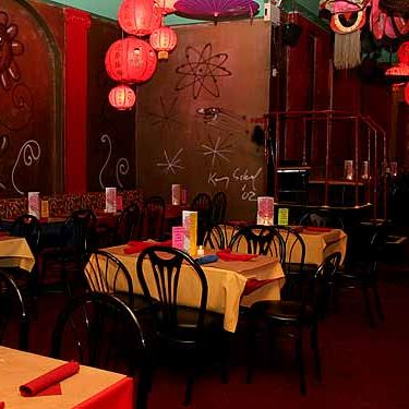 A conservative dining room setup from the original Lucky Cheng's.
