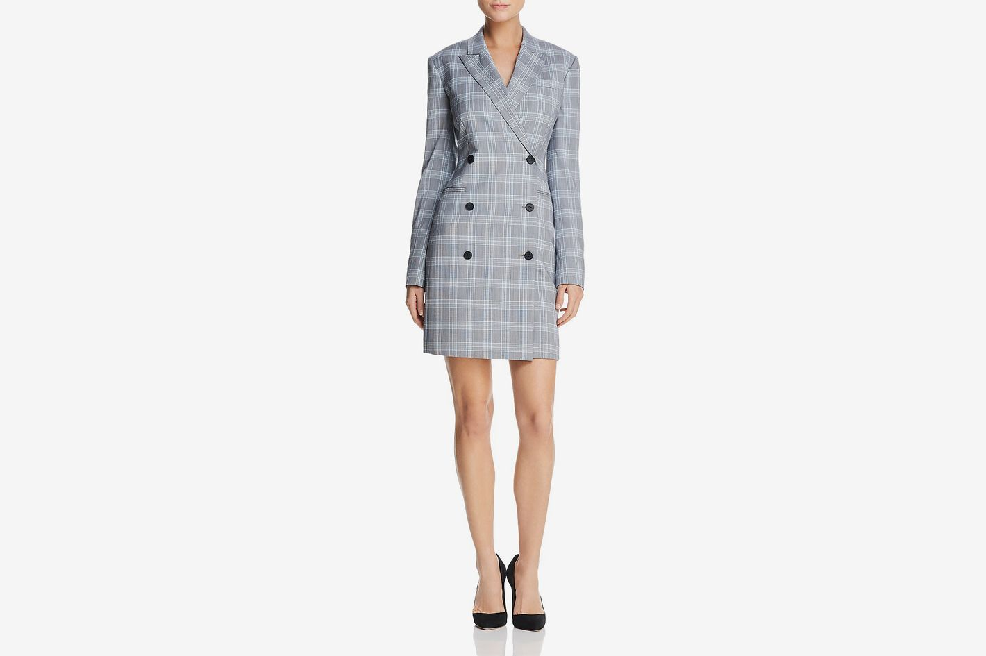 Stretch Plaid Blazer Dress