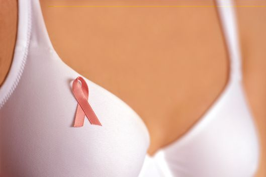 Close-Up of White Bra with Pink Ribbon