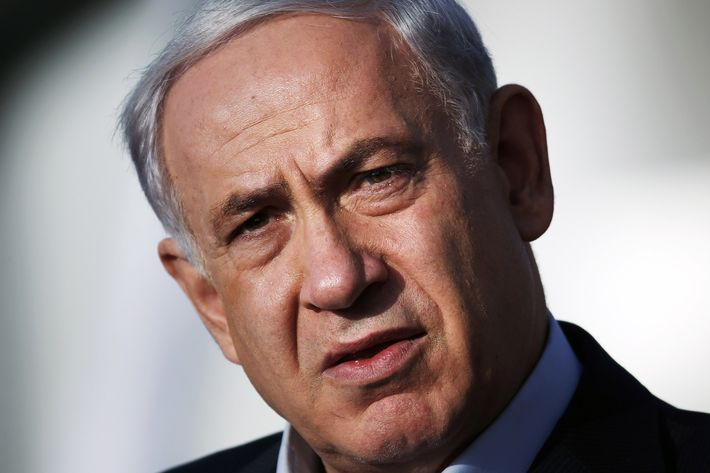Israeli Prime Minister Benjamin Netanyahu delivers a statement at the Israeli Defense forces headquarters on June 16, 2014 in Jerusalem. Netanyahu demanded Palestinian president Mahmud Abbas's help in securing the release of three Israeli kidnapped teenagers, as the army launched a massive crackdown on Islamist movement Hamas.