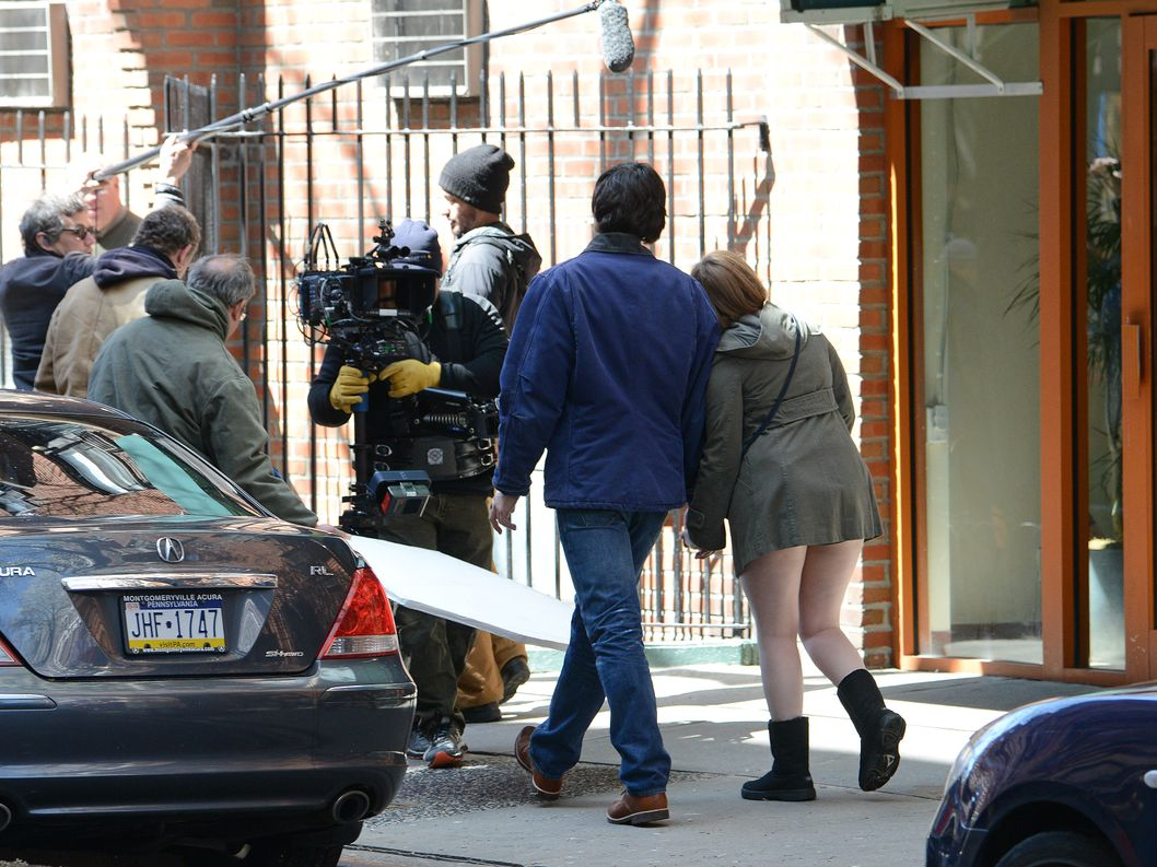 Lena Dunham and Adam Driver film season 4 of 'Girls' in Greenwich Village, NYC. <P> Pictured: Lena Dunham and Adam Driver <P><B>Ref: SPL739025  160414  </B><BR/> Picture by: Anderson / Splash News<BR/> </P><P> <B>Splash News and Pictures</B><BR/> Los Angeles:	310-821-2666<BR/> New York:	212-619-2666<BR/> London:	870-934-2666<BR/> photodesk@splashnews.com<BR/> </P>
