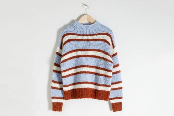 Striped Mock Neck Wool Blend Sweater