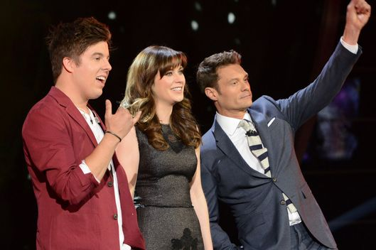 AMERICAN IDOL XIII: Alex Preston, Zoey Deschanel and Ryan  Seacrest on AMERICAN IDOL XIII airing Thursday, April 30 (8:00-10:00 PM ET / PT) on FOX.  CR: Michael Becker / FOX. Copyright 2014 / FOX Broadcasting.