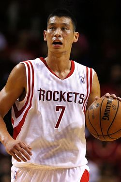 Jeremy Lin #7 of the Houston Rockets take the ball downcourt during the game against the New Orleans Hornets at the Toyota Center on October 12, 2012 in Houston, Texas.