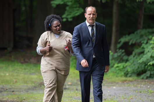 Danielle Brooks as Taystee, Nick Sandow as Caputo.