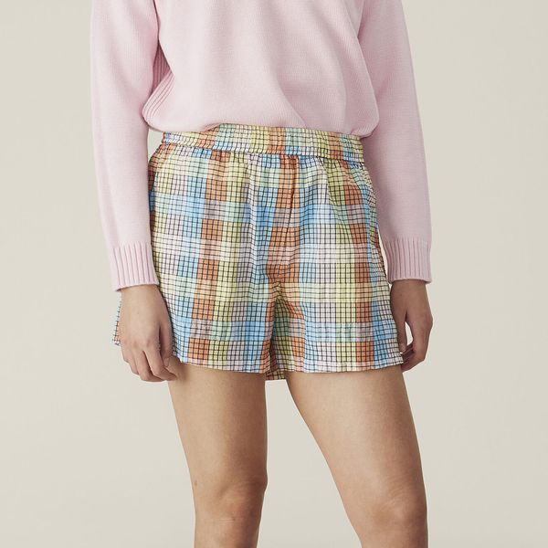 Ganni Multicolour Seersucker Check Shorts