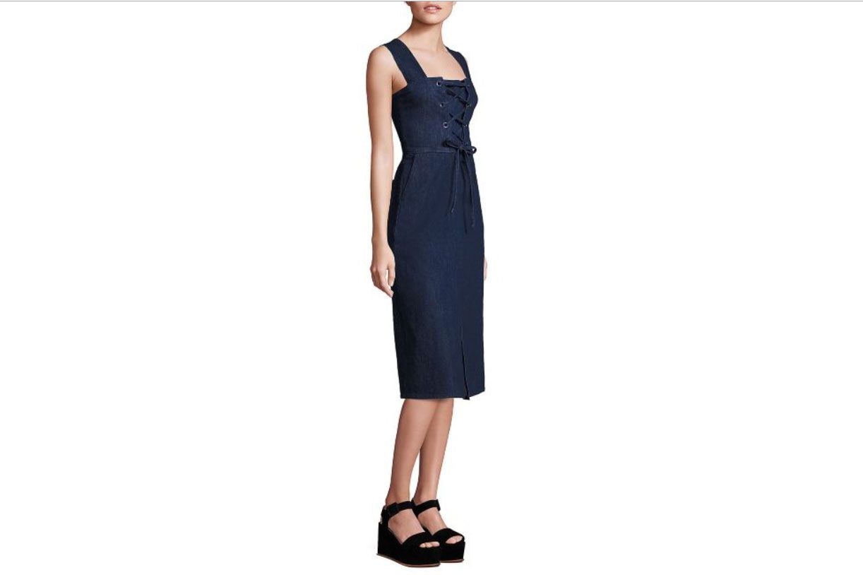 See by Chloé Lace Front Denim Dress