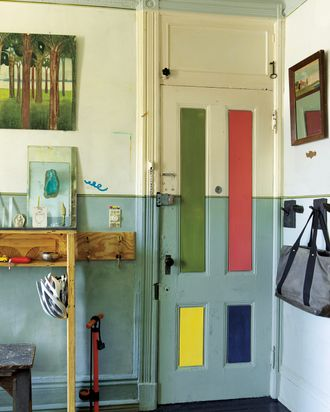 Matt Austin hand-ground and hand-mixed the pigments for the colored panels on this door.