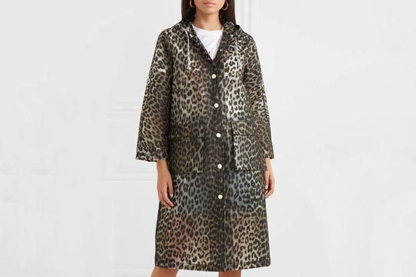 Ganni Leopard-print matte-PU coat