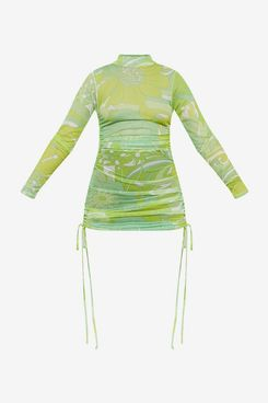 Doja Cat x PrettyLittleThing Lime Floral Ruched Bodycon Dress