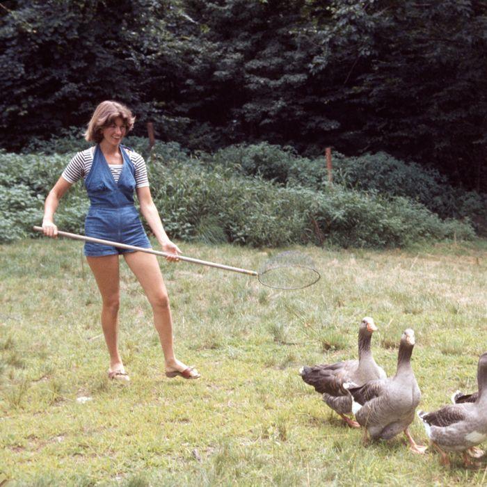 Martha Stewart herding geese, 1976.