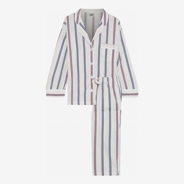 Marina Striped Cotton-poplin Pajama Set - strategist best Marina striped button up pajama set