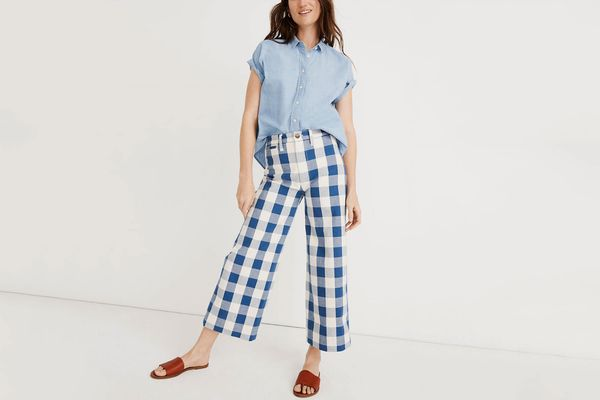 Madwell Emmett Wide-Leg Crop Pants in Gingham Check