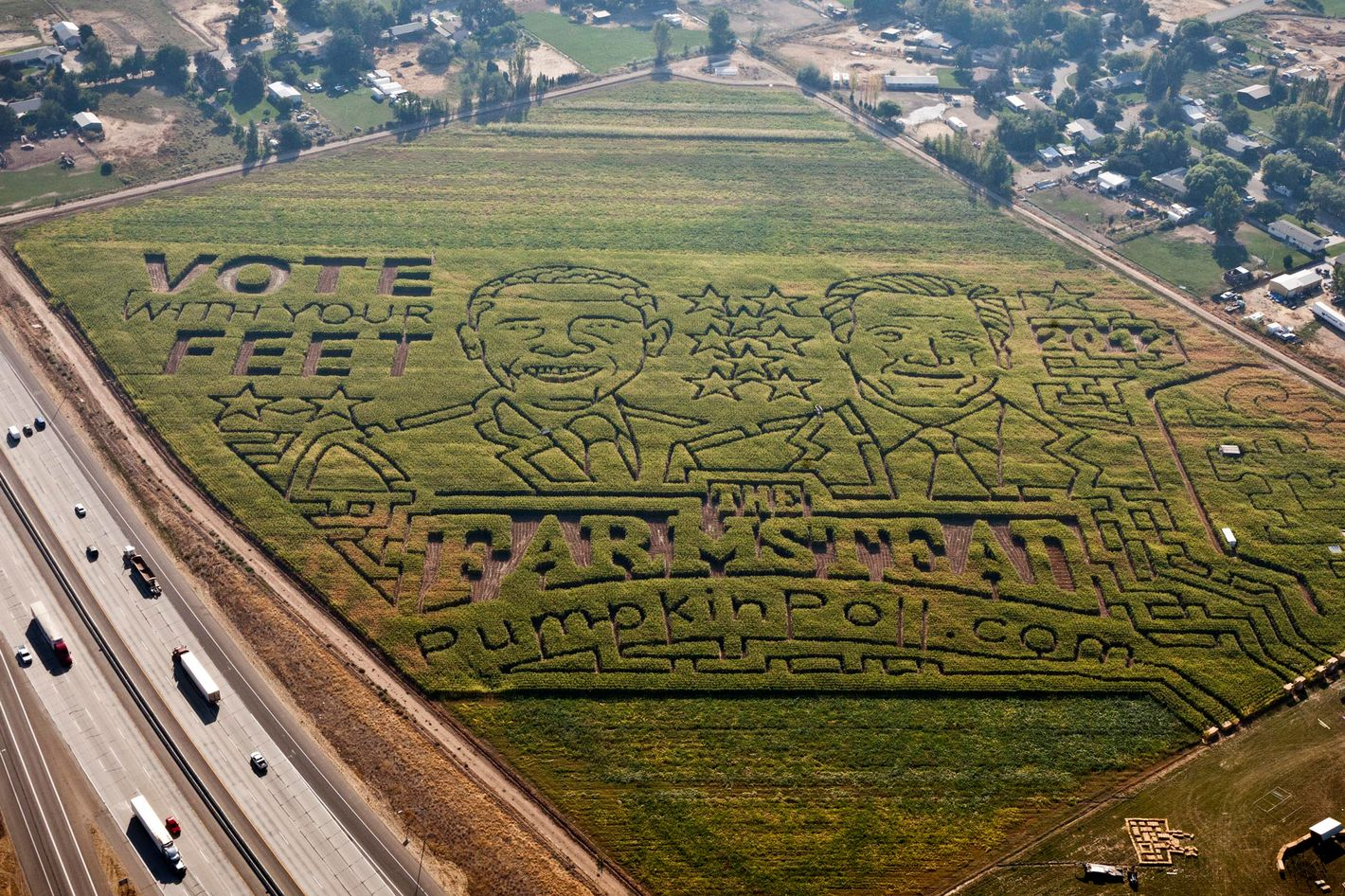 "An 18-acre corn maze at The Farmstead in Meridian, Idaho, features a political face-off between Republican presidential candidate Mitt Romney and President Barack Obama. ""People can choose to go left or right as they enter the maze,"" said Jim Lowe, farmer in chief at The Farmstead.  The annual fall attraction will also conduct their own straw poll, or pumpkin poll, as patron cast pumpkins into the bin of their choice for president. The Farmstead will be open September 21, 2012 through November 3, 2012."