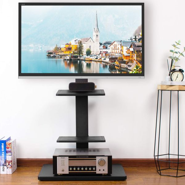Rfiver Swivel Floor TV Stand with Mount and Three Shelves