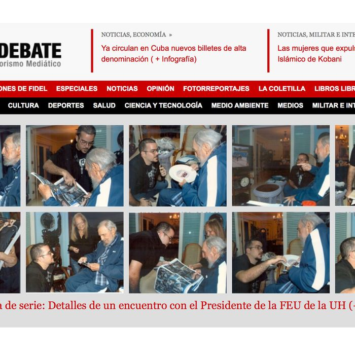 A screenshot of Cuba's website Cubadebate shows ten photos of Fidel Castro on their opening page in Havana, Cuba, Tuesday Feb. 3, 2015.