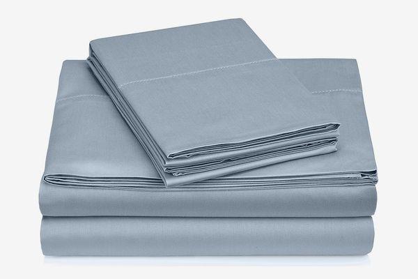 Pinzon 400-Thread-Count Egyptian Cotton Sateen Hemstitch Sheet Set — Full, Dusty Blue
