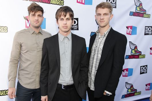 "HOLLYWOOD, CA - AUGUST 14:  Musicians Cubbie Fink, Mark Foster and Mark Pontius of ""Foster the People"" arrive at the 2011 VH1 Do Something Awards at the Hollywood Palladium on August 14, 2011 in Hollywood, California.  (Photo by Christopher Polk/Getty Images for VH1)"