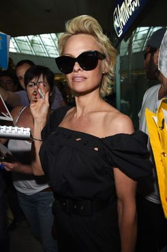 NICE, FRANCE - MAY 13:  Pamela Anderson is seenarriving in Nice for the 67th Annual Cannes Film Festival on May 13, 2014 in Nice, France.  (Photo by Jacopo Raule/GC Images,)