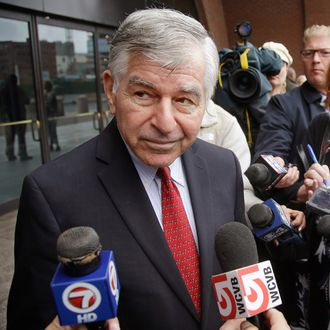 Former Massachusetts Governor and Democratic presidential nominee Michael Dukakis talks to members of the media outside Federal Court after testifying in the Robel Phillipos trial Thursday, Oct. 16, 2014 in Boston. Dukakis was called as a defense witness in the trial of Phillipos, a friend of Boston Marathon bombing suspect Dzhokhar Tsarnaev, because the Phillipos family and the Dukakis family have been friends for years.