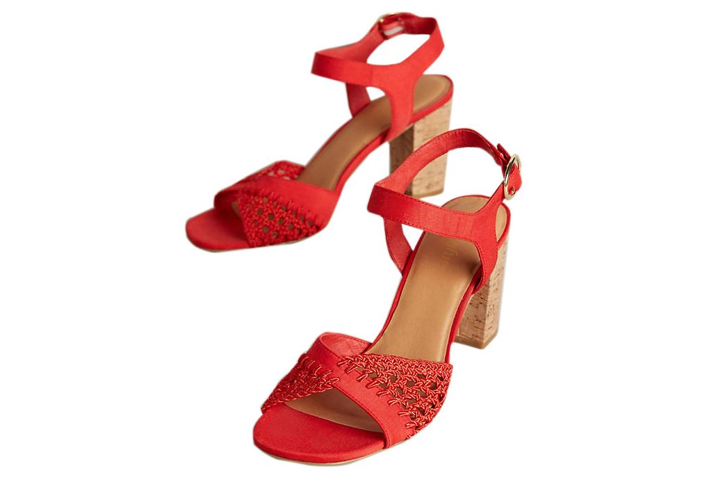 Farylrobin Red Cork Block Heel Sandals