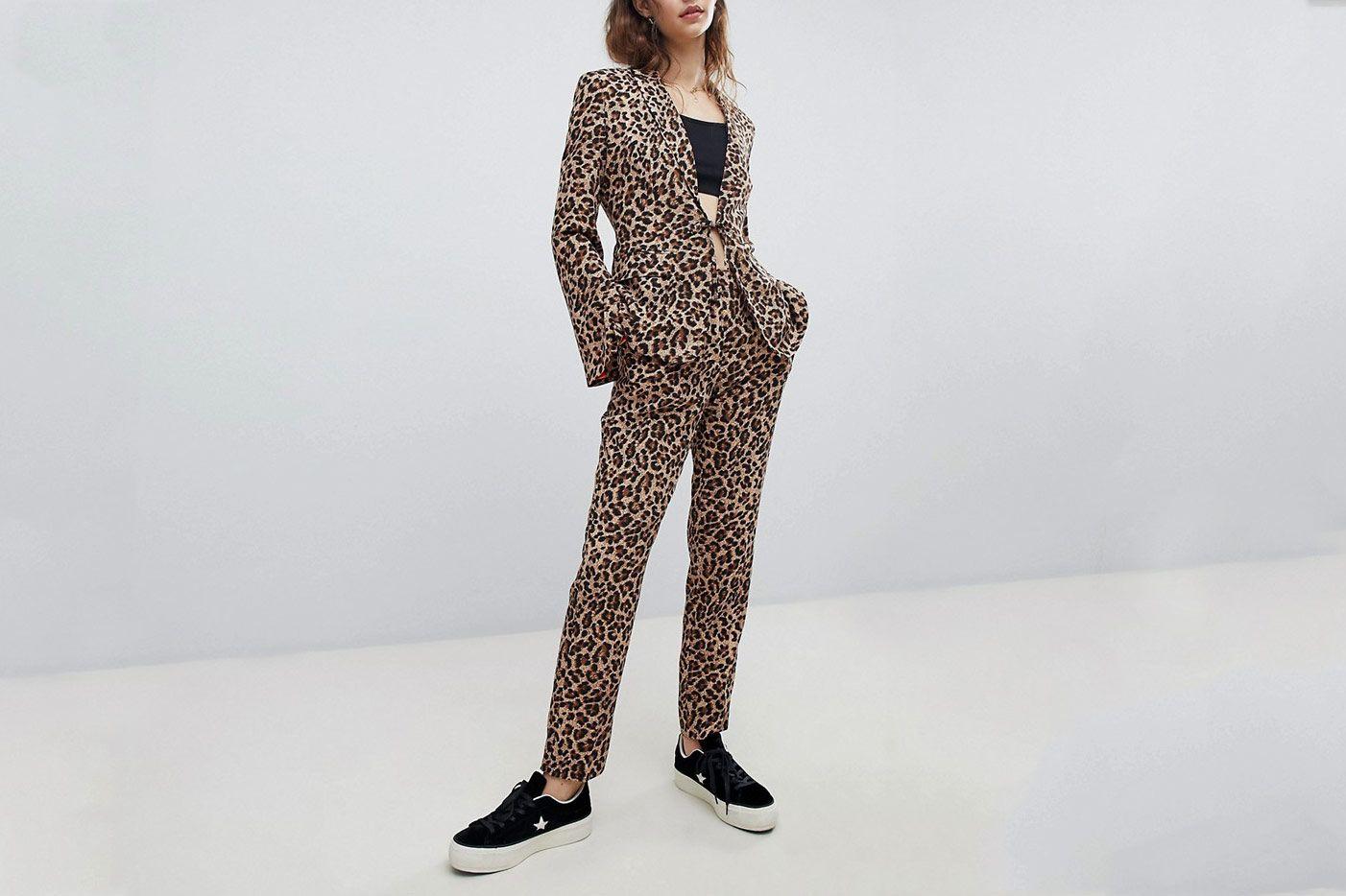 Unique 21 Boyfriend Fit Blazer in Leopard Print