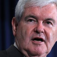 DULUTH, GA - MARCH 06:  Republican presidential candidate, former Speaker of the House Newt Gingrich addresses the Gwinnett Chamber of Commerce during a campaign stop March 6, 2012 in Duluth, Georgia. Ten states, including Georgia, are holding caucuses and primaries today for voters to pick their choices for the Republican presidential nominee.  (Photo by Alex Wong/Getty Images)