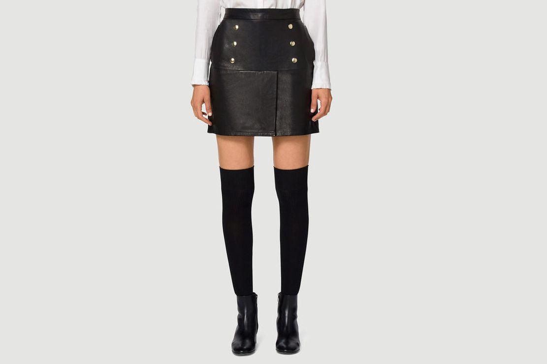 Frame Leather Overlay Skirt