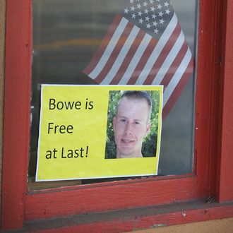 HAILEY, ID - JUNE 01: A sign announcing the release of Sgt. Bowe Bergdahl sits in the window of the Hailey Paint and Supply store on Main Street June 1, 2014 in Hailey, Idaho. Sgt. Bergdahl was captured in Afghanistan in 2009 while serving with U.S. Army's 501st Parachute Infantry Regiment in Paktika Province. Yesterday he was released after a swap for 5 prisoners being held at Guantanamo Bay was arranged. Bergdahl was considered the only U.S. prisoner of war held in Afghanistan. (Photo by Scott Olson/Getty Images)