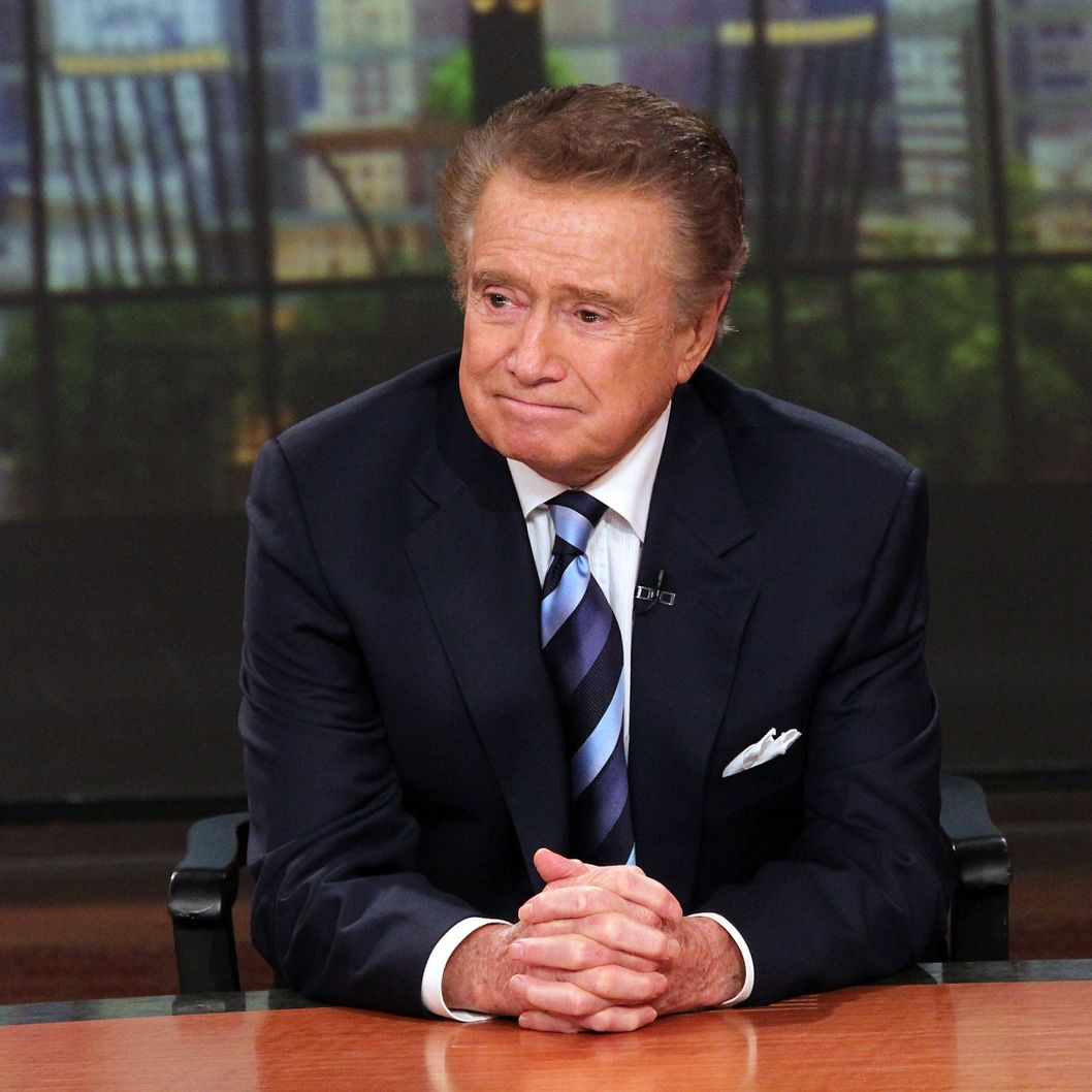 "Regis Philbin attends a press conference on his departure from ""LIVE! with Regis and Kelly"" at ABC Studios on November 17, 2011 in New York City."