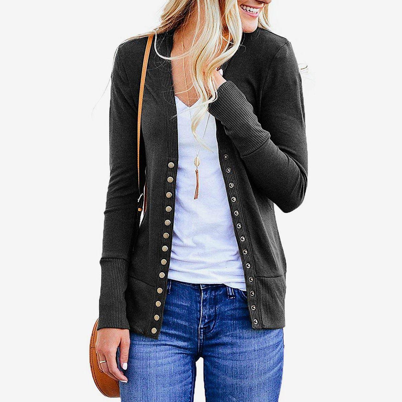 Womens Knit Cardigan Long Sleeve Open Front Button Down Knitwear Sweater Coat US