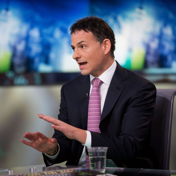 David Einhorn, president and co-founder of Greenlight Capital Inc., speaks during a Bloomberg Television interview in New York, U.S., on Thursday, Feb. 7, 2013. Apple Inc., the world's most valuable technology company, is being urged by Einhorn's Greenlight Capital Inc. to return more of its $137.1 billion in cash to shareholders.