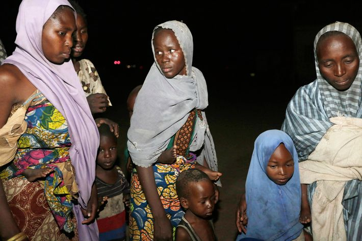 Women and children rescued by Nigerian soldiers from Boko Haram.