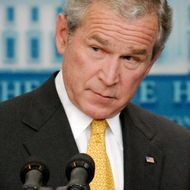 U.S. President George W. Bush addresses reporters during a press conference in the briefing room at the White House July 14, 2008 in Washington, DC. Bush addressed oil prices and energy policy, the wars in Iraq and Afghanistan and the economy, among other topics.