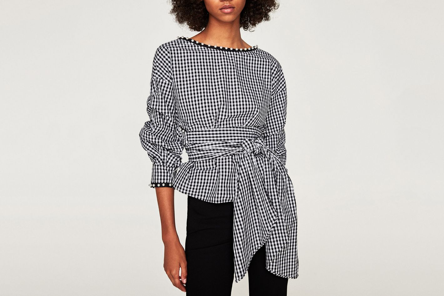 Blouse With Criss-cross Back and Faux Pearls