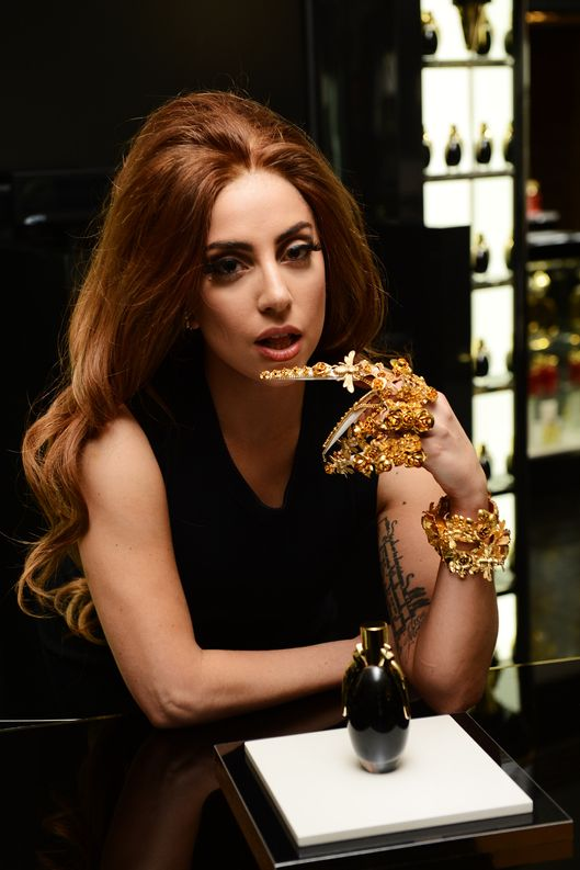 LONDON, ENGLAND - OCTOBER 07:  Lady Gaga visits Harrods London to celebrate the launch of debut Lady Gaga fragrance, Fame at Harrods on October 7, 2012 in London. England.  (Photo by Ian Gavan/Getty Images for Coty Beauty UK)