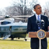 US President Barack Obama speaks on the situation in Ukraine on the South Lawn of the White House on March 20, 2014. Obama delivered his statement before boarding Marine One and departing for Florida.