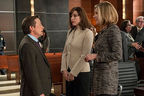 """The Dream Team""--Diane (Christine Baranski, right) and Alicia (Julianna Margulies, left) speak with Louis Canning (Michael J Fox) after a ruling doesn√¢¬?¬?t go his way, on THE GOOD WIFE, Sunday, April 29 (9:01-10:02 PM ET/PT) on the CBS Television Network. Photo: David Giesbrecht/CBS √?¬©2012 CBS Broadcasting,Inc. All Rights Reserved"