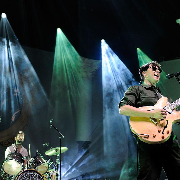 LONDON, ENGLAND - NOVEMBER 13: Chris Tomson (L) and Ezra Koenig of Vampire Weekend performs at 02 Arena on November 13, 2013 in London, England. (Photo by Matt Kent/WireImage)