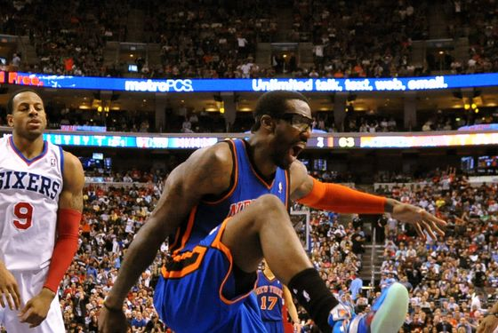 Amare Stoudemire #1 of the New York Knicks celebrates a dunk during the game against the Philadelphia 76ers at the Wells Fargo Center on March 21, 2012.