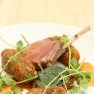Lamb loin, chickweed, lamb bacon, parsnips, flax-and-nettle pesto, carrot sauce