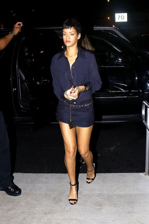 Rihanna headed to the airport after attending the Jay-Z concert at the Barclay Center in Brooklyn with ex boyfriend Chris Brown.