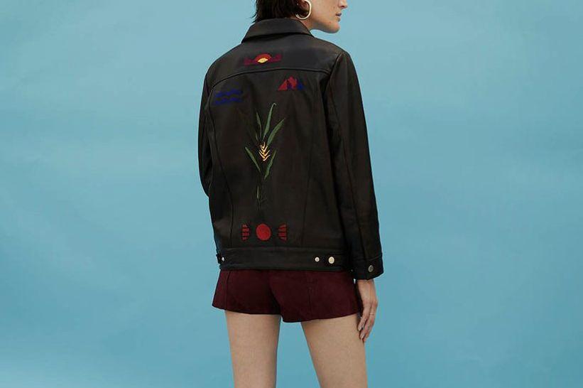 Oversized Embroidered Leather Jacket
